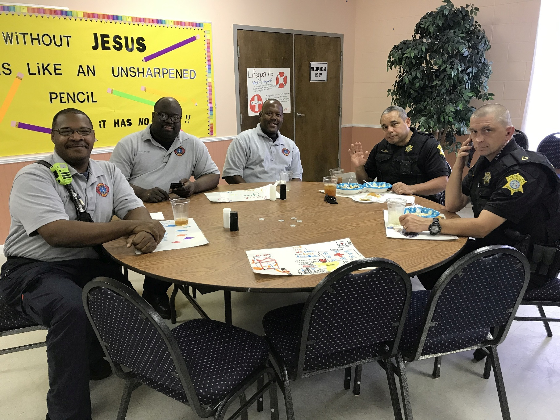 First Responders Deputy Sheriffs enjoying our buffet 0540