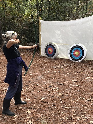 Ann taking dead aim at the target.
